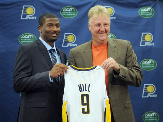 Indiana Pacers Larry Bird welcome their No. 1 draft pick Solomon Hill at Bankers Life Fieldhouse.
