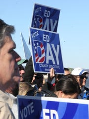 Supporters of Ed Day gather Haverstraw Bay Park on Feb. 20, 2017 to hear him make the announcement that is running again for Rockland County Executive.