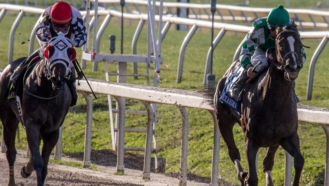 Rosemont Farm's Venus Valentine, right, sneaks through on the rail to win the Twinspires.com Rachel Alexandra Stakes (GrII). Corey Lanerie was the winning jockey.Photo By Alexander Barkoff / Hodges Photography