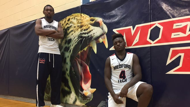 Medford Tech seniors Nate Conyers, left, and Jaqwan Laster have helped the Jaguars get off to a fast start this season.