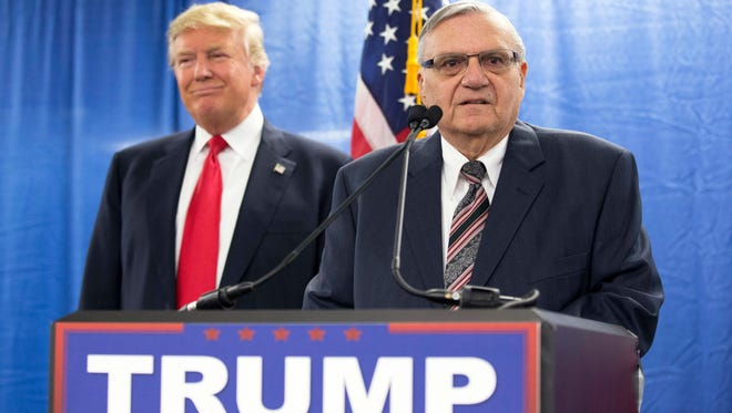 Then Republican presidential candidate Donald Trump, left, with Maricopa County, Ariz., Sheriff Joe Arpaio in 2016.
