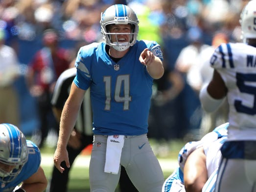Lions quarterback Jake Rudock calls a play against