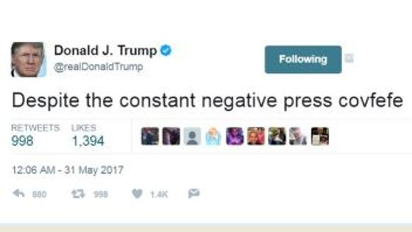 Trump posts vague, midnight tweet about 'negative press covfefe'