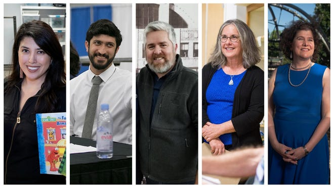 From left, Austin City Council candidate Vanessa Fuentes; and Council Members Greg Casar, Jimmy Flannigan, Leslie Pool and Alison Alter.