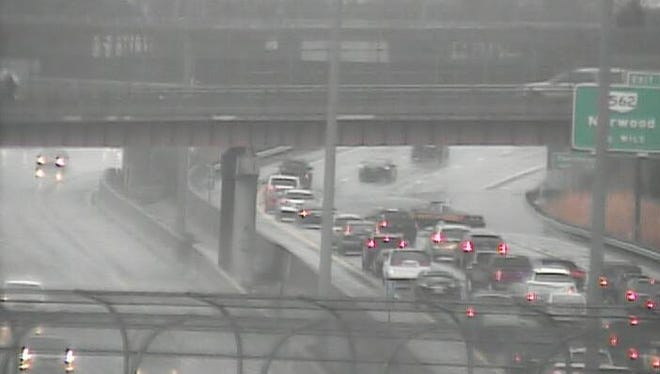 Flooding closed the right lanes of I-71 southbound Sunday afternoon.