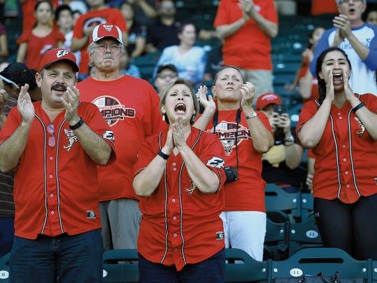 VICTOR CALZADA-EL PASO TIMES Fans cheered their Chihuahuas Friday.