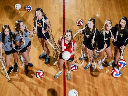 GameTimePA.com's first-team girls' volleyball all-stars are, from left: York Suburban's Jordan Landis, York Suburban's Maura Brehl, Eastern York's Lauren Reichard, Susquehannock's Abigail Bentz, Delone Catholic's Maddie Comly, Delone Catholic's Katie Laughman and Delone Catholic's Sarah Senft.