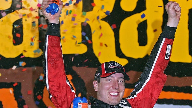 Sprint Cup star Kyle Busch celebrated winning the  U. S. Cellular 250 Nationwide Series race at Iowa Speedway on July 31, 2010.