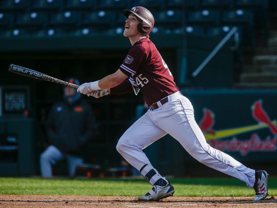Ben Whetstone, of Missouri State, watches the ball