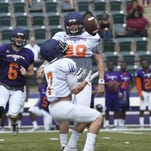 Northwestern State's Ed Eagan catches a punt during a recent scrimmage.