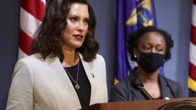 Michigan Gov. Gretchen Whitmer speaks during a coronavirus briefing in Lansing on Wednesday, June 17. Whitmer said she would unveil a road map on June 30 for K-12 schools to return to in-person learning.