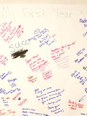 A card signed by Christine Hanafin's students at Zanesville