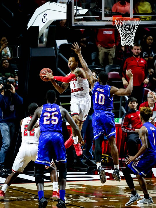 in the basketball game between ULL and UT-Arlington at the Cajundome in Lafayette, Louisiana on March 04, 2017.