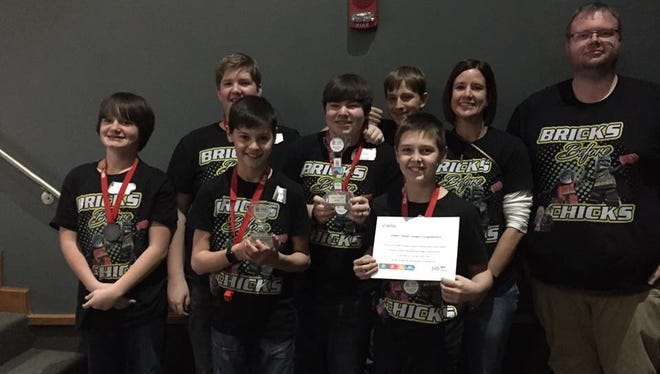 The Cotter Lego Team, Bricks Before Chicks, earned the Core Value Award at the Mountain Home Qualifier tournament Saturday, Dec. 10.  The team will be advancing to the state competition in Fayetteville on Jan. 20-21.  Team members include James Crownover, front row from left, Hayden Hutson, Jayden Hutchison and Jeffry Haynes and back row, Luke Howse, Landon Francis, Coach Monica Springfield and Coach Shane Lively.