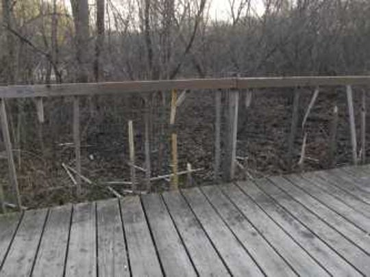 Between May 6 and 7, someone broke about 50 spindle supports on a wooden recreational bridge on the Purple Circle Trail, in the city of Mosinee.