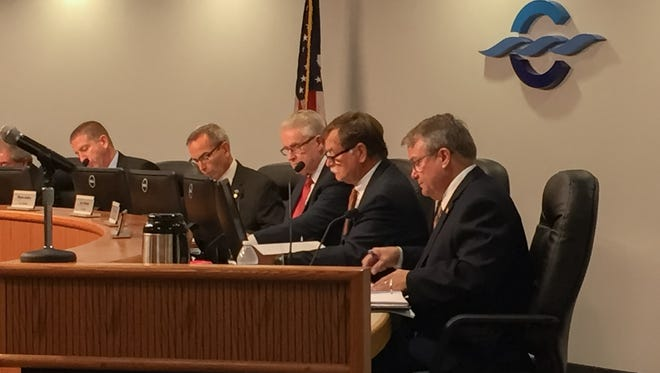 The Canaveral Port Authority's board of commissioners met Wednesday for the first time with two new members. From left are new Commissioner Micah Loyd, Vice Chairman Wayne Justice, Secretary/Treasurer Jerry Allender, Chairman Tom Weinberg and new Commissioner Bob Harvey.