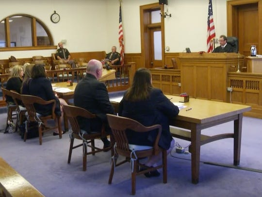 Judge Gregory Ross speaks at a hearing Tuesday in Sandusky to hear objections to his order granting partial parental custody to a convicted rapist.