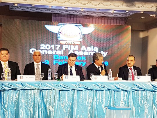 Dr. Stan Yasuhiro, second from left, is honored at the FIM Asia General Assembly held in Bangkok, Thailand over the weekend. Yasuhiro was elected vice president of FIM Asia to serve a four-year term. Yasuhiro, a local dental doctor, is also of the local motocross organization, Guam Motorcycle and ATV Corporation.