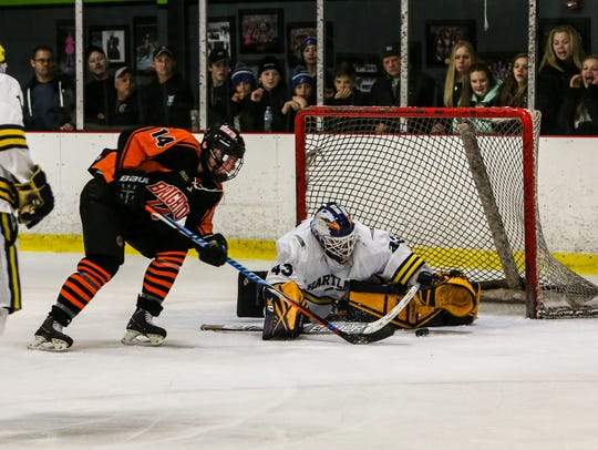 Brighton's Spencer Gehres tries to get to a loose puck