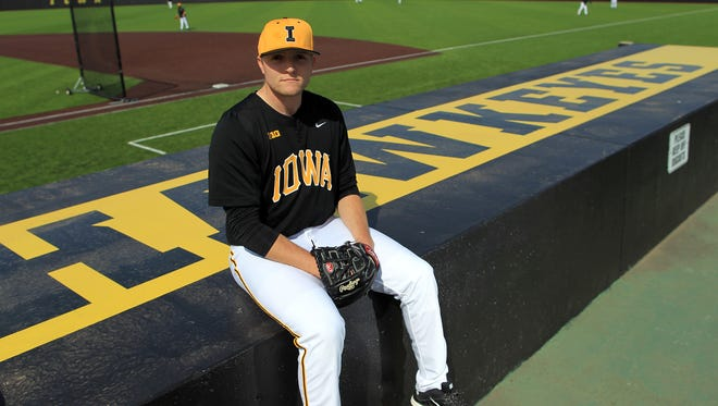 Iowa right-handed pitcher C.J. Eldred, shown at Duane Banks Field, is limiting opponents to a .213 batting average in six appearances as a Hawkeye. He owns a 2.09 ERA.