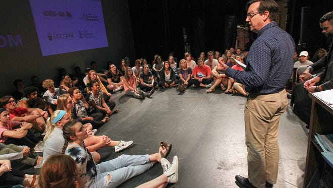 David Gould speaks with his students before the beginning of the Green Room series at the Englert Theatre on Monday, Aug. 28, 2017.