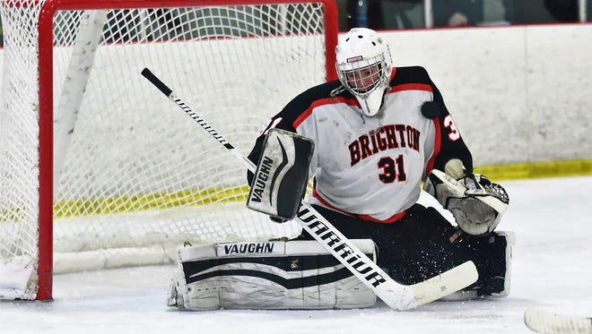 Brighton's Robert Pegrum makes one of his 21 saves in a 3-2 victory over Orchard Lake St. Mary's.