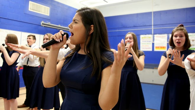 The Something Dangerous a cappella choir rehearses at McNary High School in Keizer on Tuesday, Jan. 16, 2018. The group is competing in the International Championship of High School A Cappella Northwest Semifinal on Jan. 26 at the Elsinore Theatre.