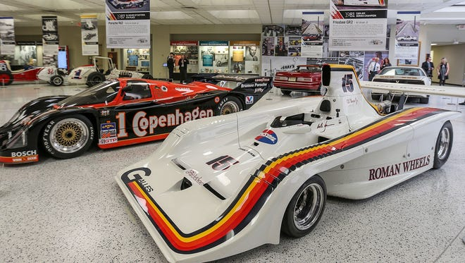 """Race cars driven by members of the Unser family are on display in the """"The Amazing Unsers: From Albuquerque to Indianapolis"""" exhibit at the Indianapolis Motor Speedway Museum, Tuesday, April 10, 2018."""
