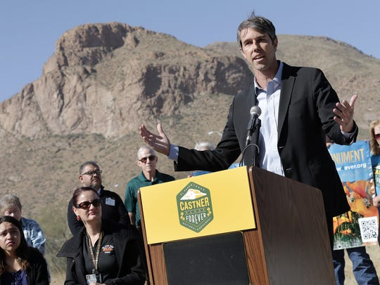 U.S. Rep. Beto O'Rourke, D-El Paso, at a news conference at Castner Range just outside the El Paso Museum of Archaeology in 2016.