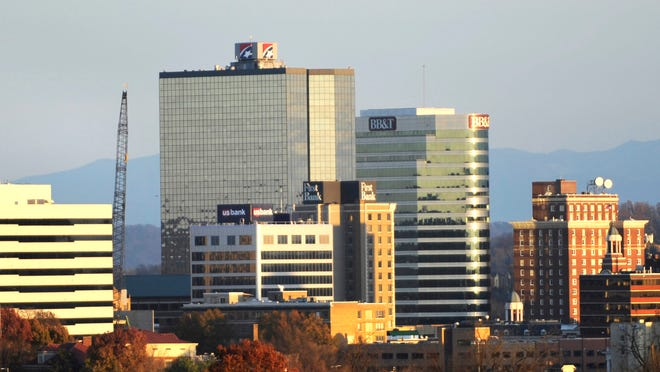 The Knoxville skyline is pictured Wednesday, Nov. 19, 2014. Prominent are the former Kimberly-Clark Building, left, First Tennessee Plaza, Riverview Tower, and the Andrew Johnson Building.  (PAUL EFIRD/NEWS SENTINEL)
