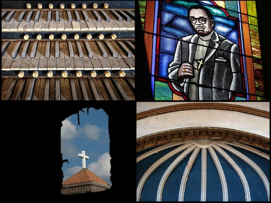 Much of the original dome ceiling at Clayborn Temple has been damaged (bottom right) but many of the original architectural details remain including some of the original stained glass windows (upper right) and pieces of the organ (upper left). Construction crews have begun renovations to the old church in downtown Memphis. The nonprofit Neighborhood Preservation Inc. has begun what could be a multimillion-dollar project to rehab the church, which was at the center of the sanitation worker strikes of 1968, by April of 2018, the 50th anniversary of Dr. Martin Luther King Jr.'s assassination.