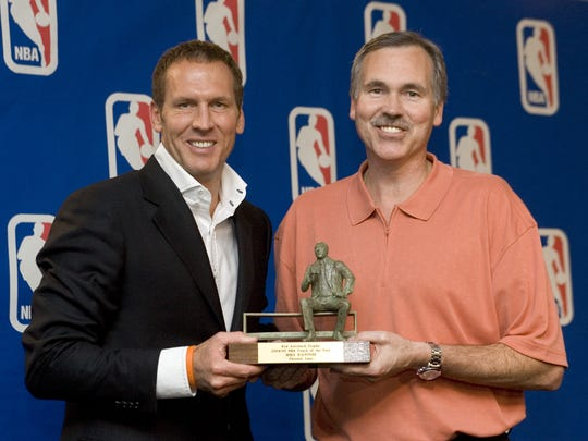 Phoenix Suns head coach Mike D'Antoni is presented