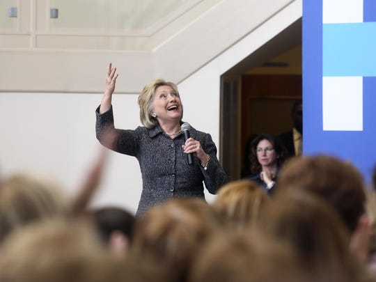Democratic presidential candidate Hillary Clinton speaks to supporters during a campaign stop at the Charles and Romona Myers Center at University of Dubuque on Tuesday in Dubuque, Iowa.