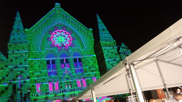 The Lumenocity concert lights up Music Hall on Aug. 3, 2013.
