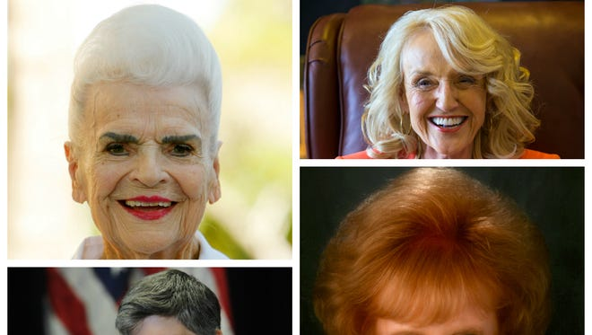 Arizona Gov. Jan Brewer, former governors Jane Dee Hull, Janet Napolitano and Rose Mofford (clockwise from upper right)