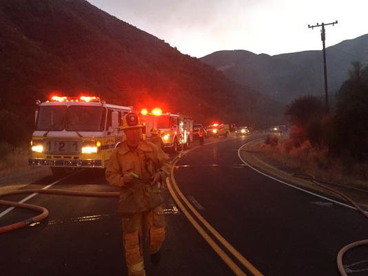 Crash sparks fire on Highway 33
