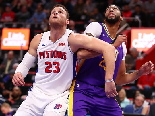 Blake Griffin, left, battles Anthony Davis for position last season.