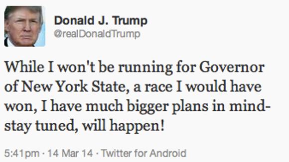 Donald Trump's tweet, March 14, 2014