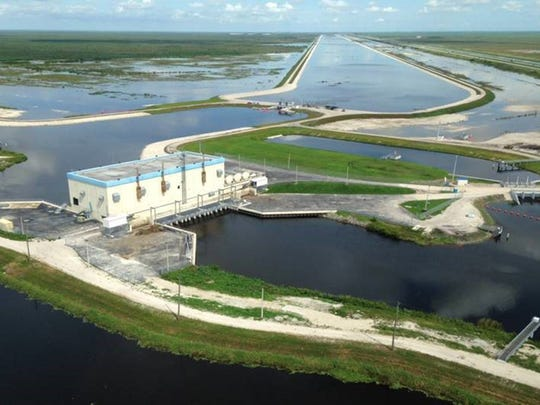 The A-1 Flow Equalization Basin and pump station in the Everglades area.