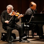 Itzhak Perlman plays the violin and is accompanied by Rohan De Silva on the piano during an FSU Opening Nights performance at Ruby Diamond concert hall on Thursday March 19, 2015.