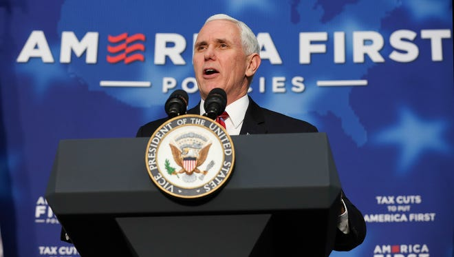 Vice-President Mike Pence speaks to a crowd at an America First event in Versailles, Kentucky, in March 2018.