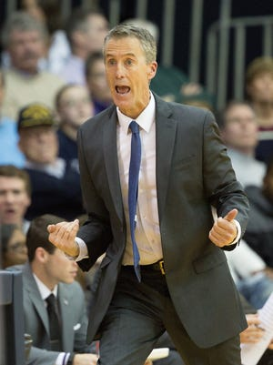 University of Pennsylvania Quakers head coach Steve Donahue reacts to a play against the Villanova Wildcats during the second half at The Pavilion on Dec. 28, 2015. Villanova won 77-57.