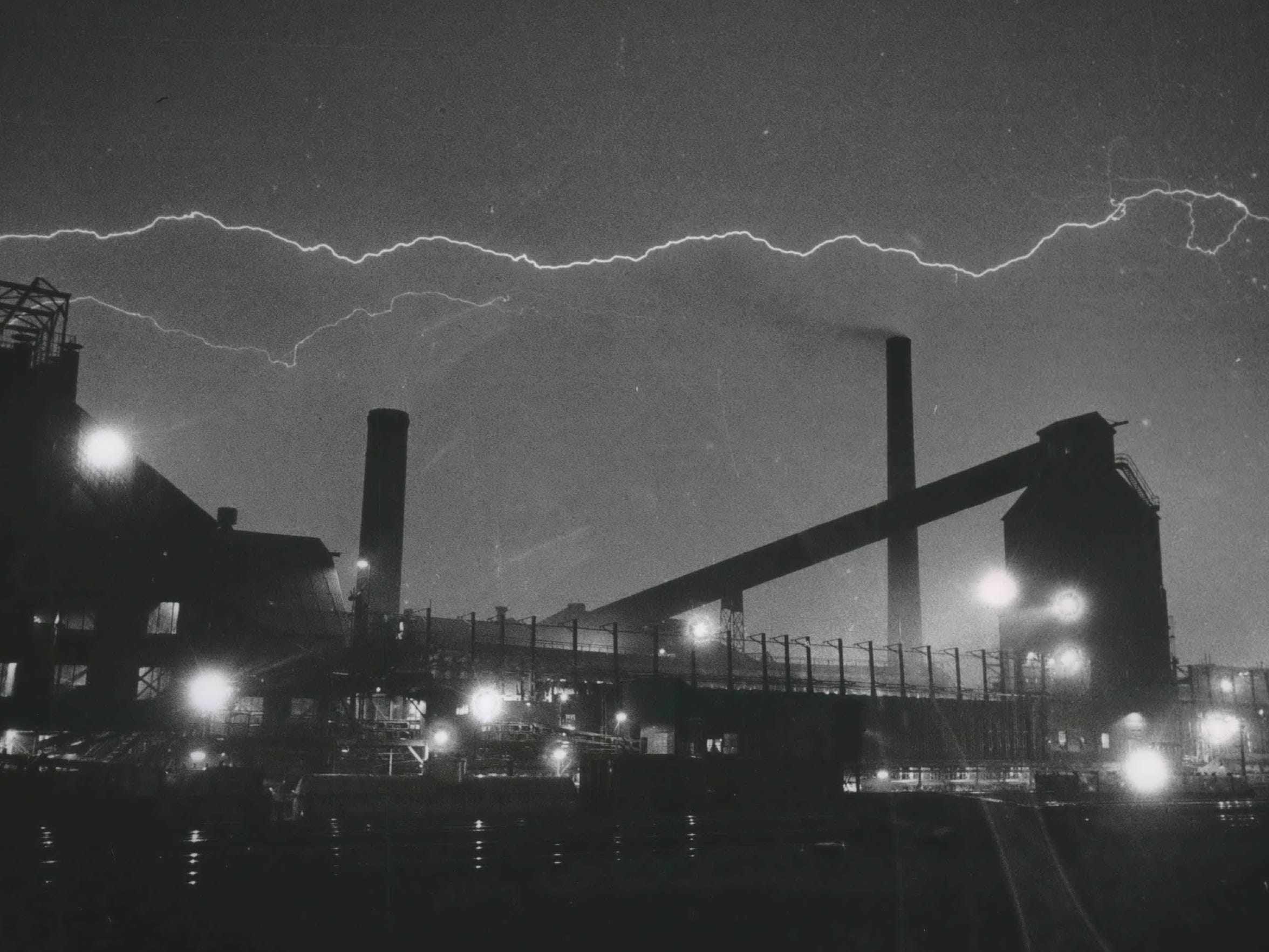 Lightning flashes across the sky in this 1961 photo