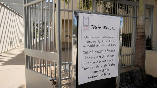 A sign at the entrance to the Museum of Ventura County in Ventura announces its temporary closure.