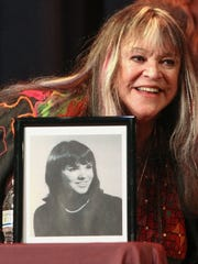 Melanie Safka Shekeryk, RBRHS class of 1964, at her induction into the Red Bank Regional High School Hall of Fame.