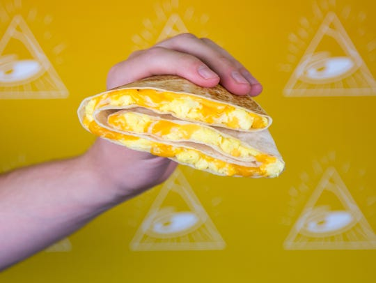 The $1 breakfast Stacker from Taco Bell.