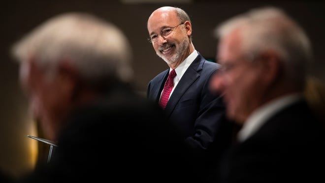 Pennsylvania Gov. Tom Wolf takes questions at a Pennsylvania Press Club luncheon in Harrisburg, on Oct. 30, 2017.