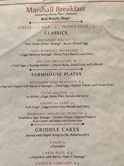 The breakfast menu at Marshall Steakhouse