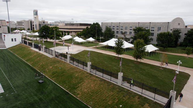 Tents have gone up on Missouri State's campus where BearFest Village, a tailgating area to the north of Plaster Stadium, will be on campus for the first time and will sell alcohol Saturday to the public and students.