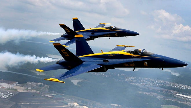 Blue Angels Lt. Ryan Chamberlain and Captain Jeff Kuss fly manovers over Smyrna, on Thursday, June 2, 2016, in preparation for the Great Tennessee Airshow, this weekend. Minutes after this was taken Captain Jeff Kuss' plane crashed killing the pilot.